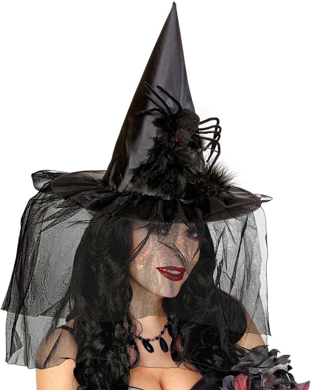 Zwarte heksenhoed met tule