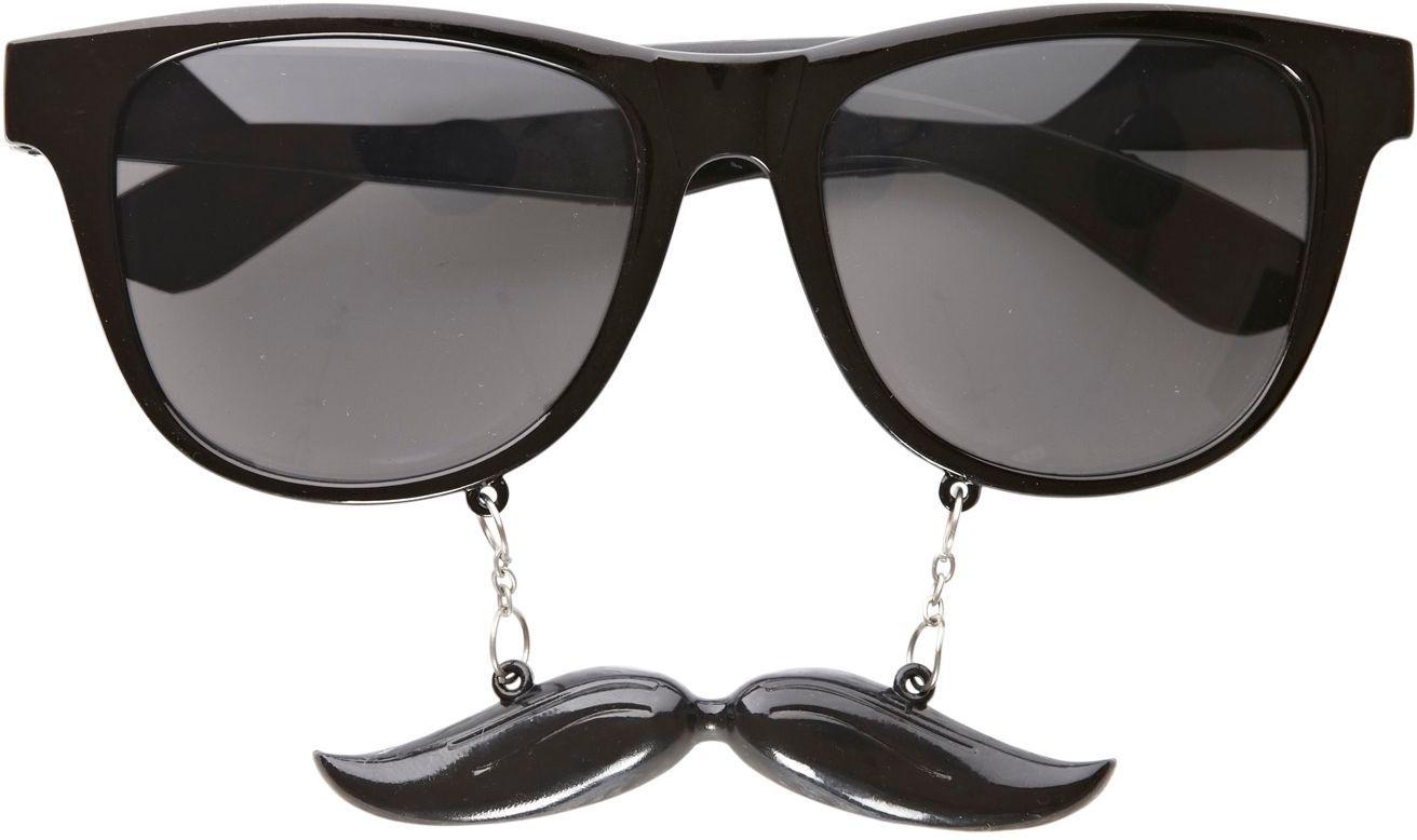 Zwarte heren bril met snor