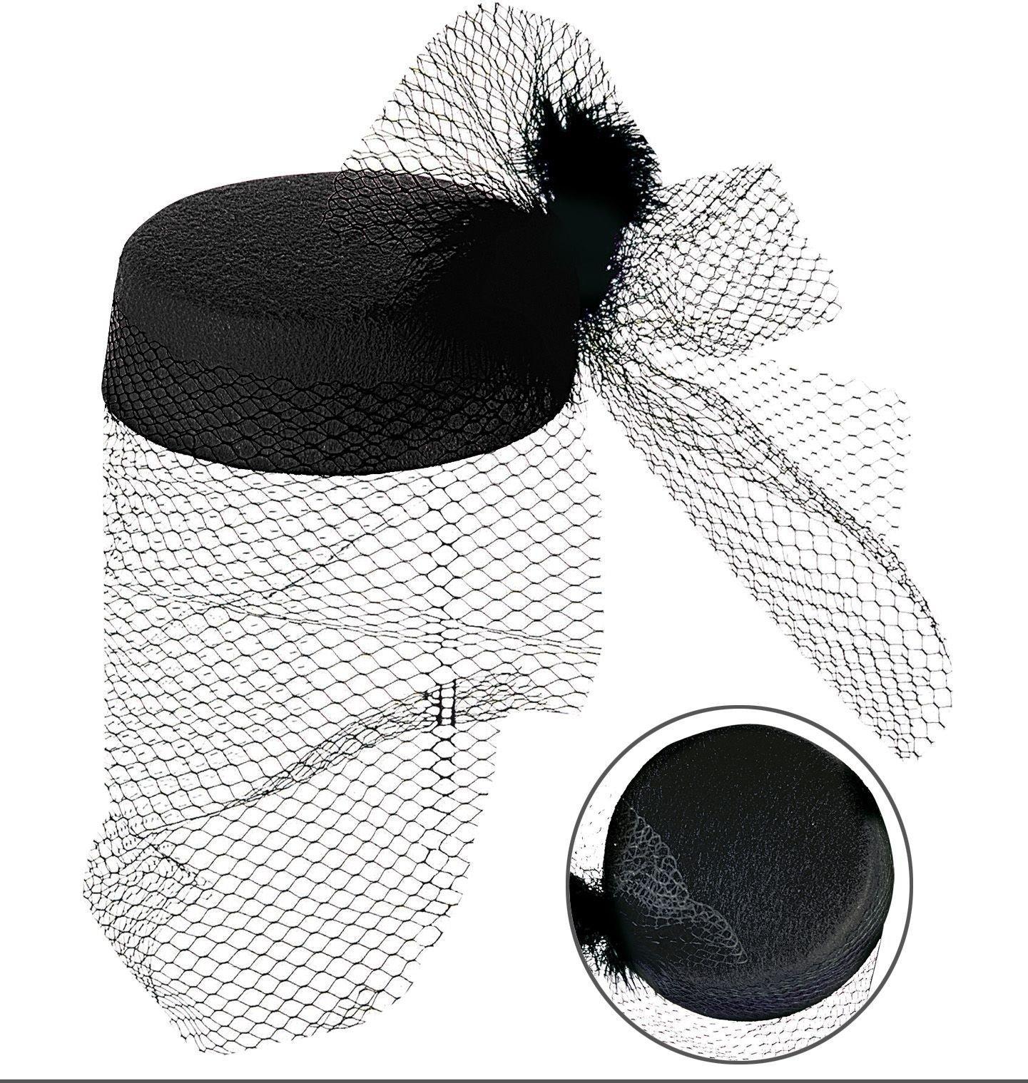 Zwarte hoed met net en veren