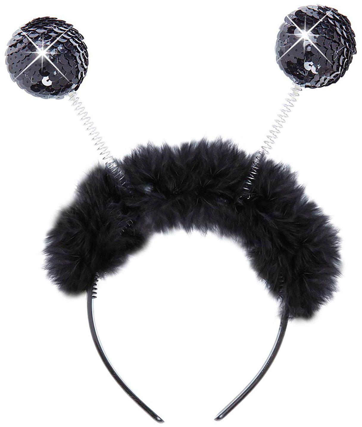 Zwarte hoofdband met pailletten antennes