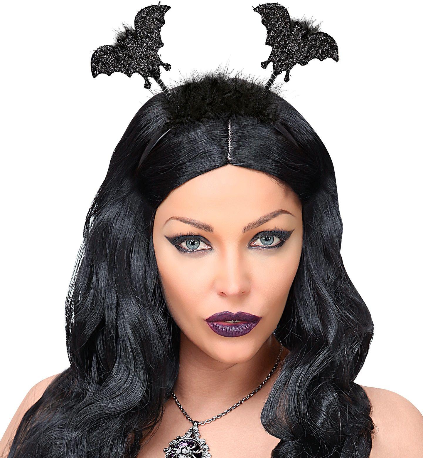 Zwarte hoofdband met vleermuizen