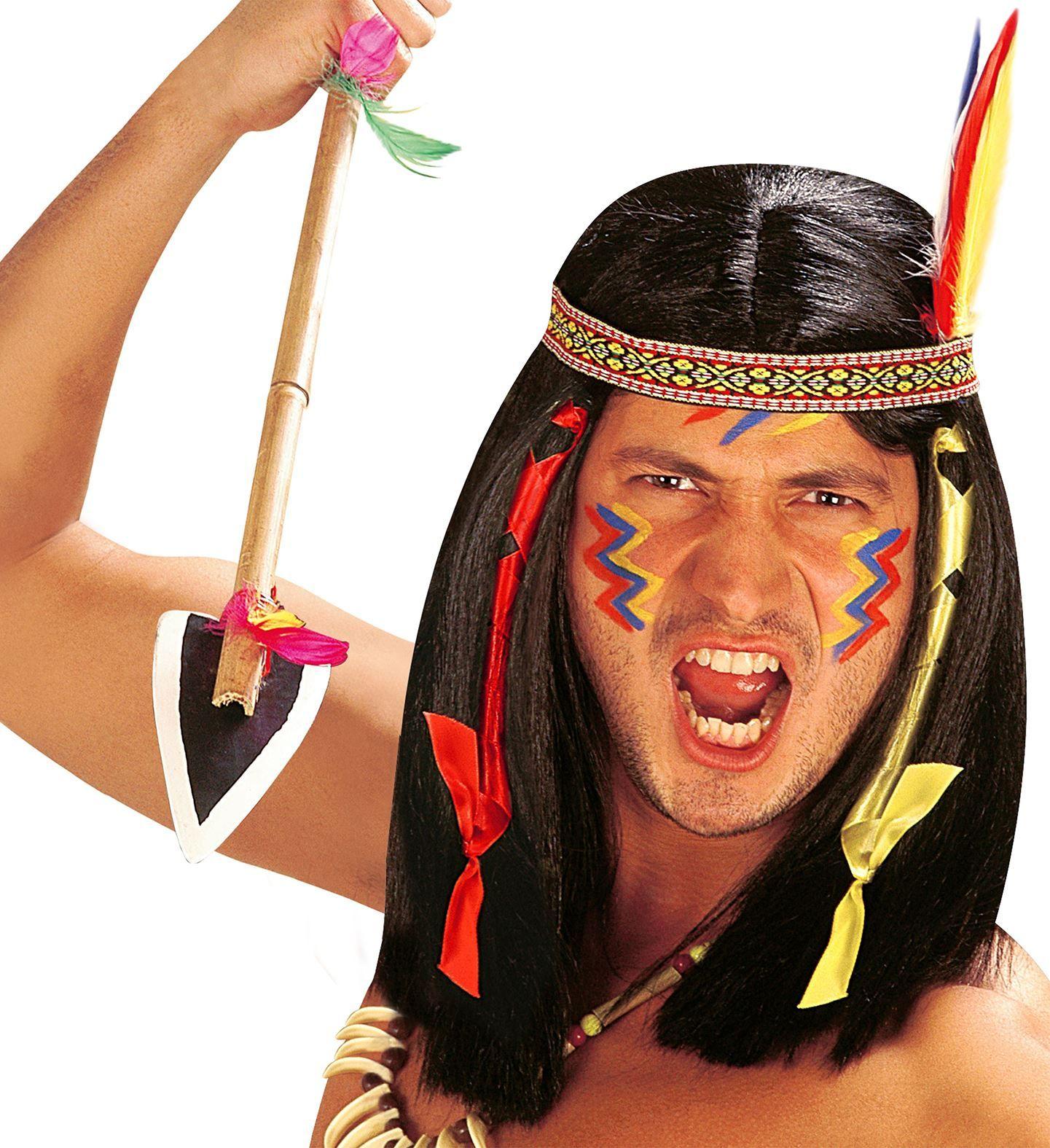 Zwarte indianen pruik