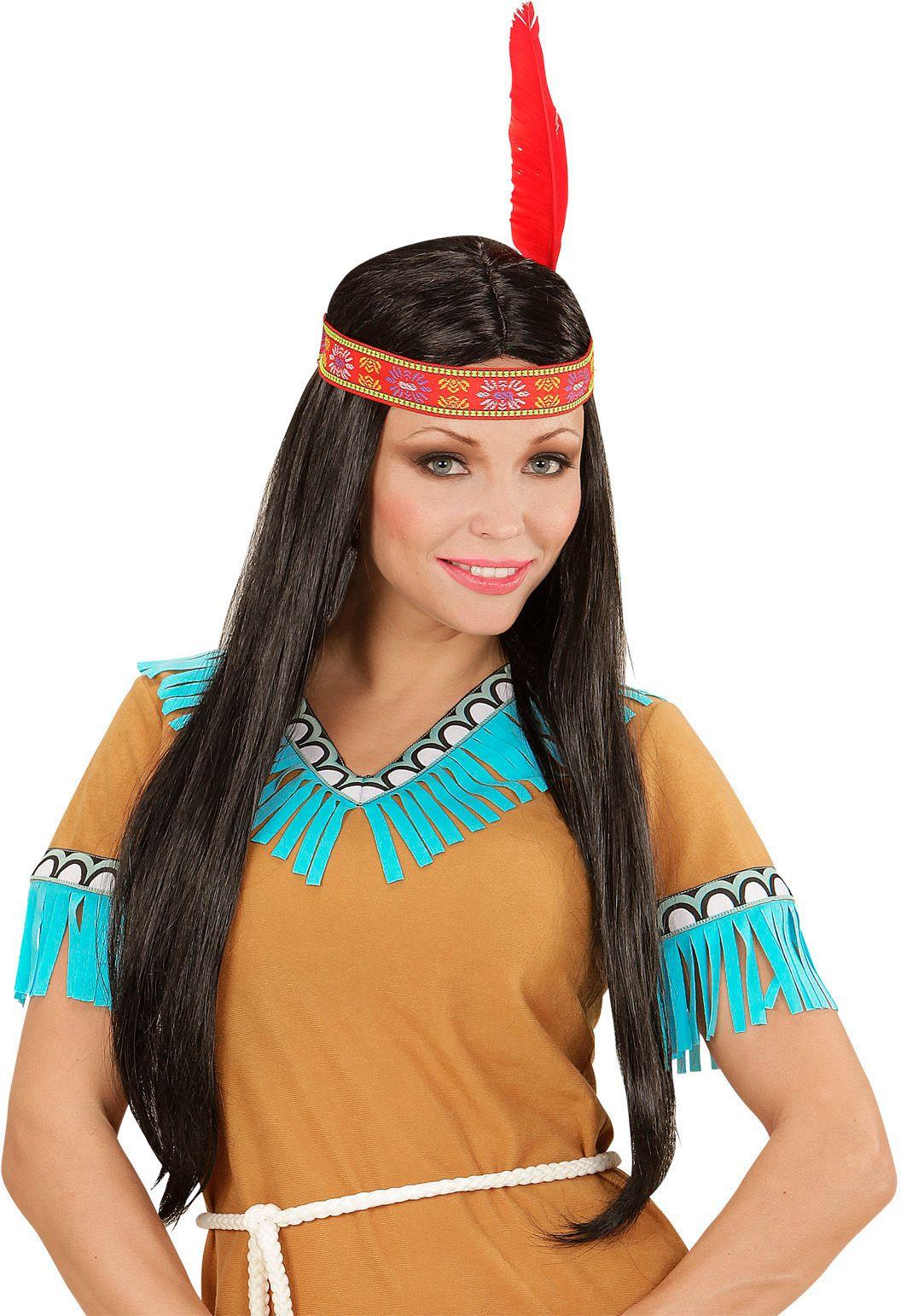 Zwarte indianen pruik met hoofdband en veer