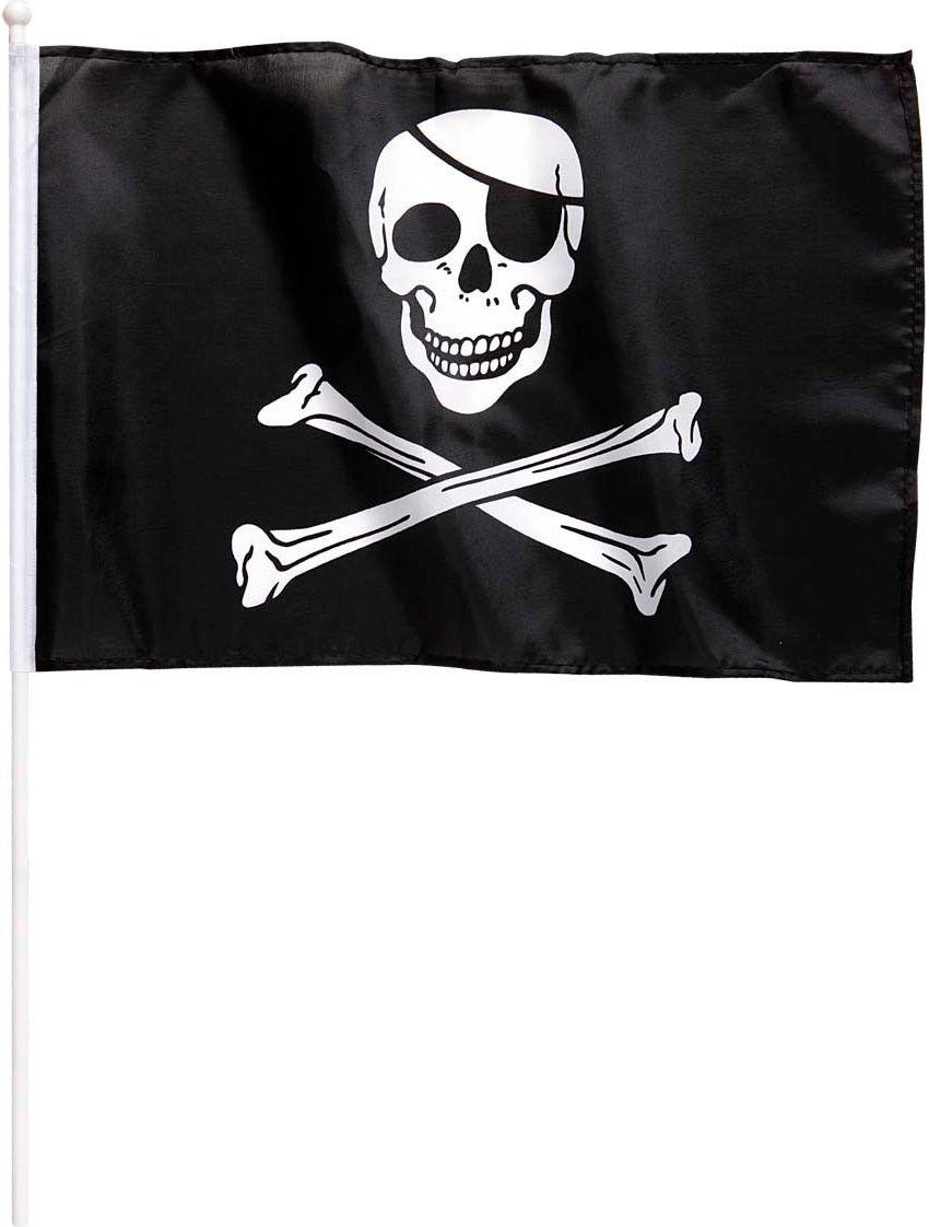 Zwarte Jolly Roger vlag met stok