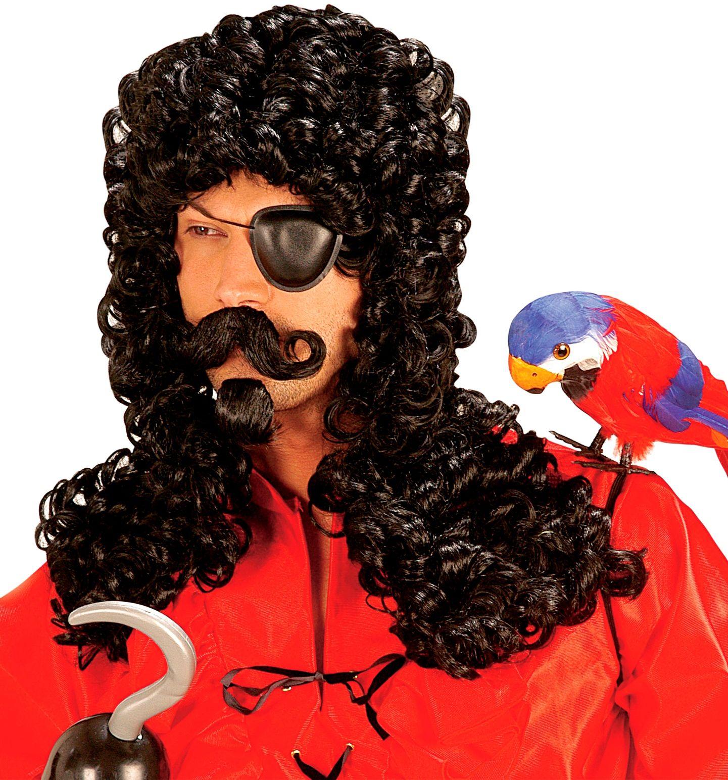 Zwarte kapitein haak pruik met snor en baard