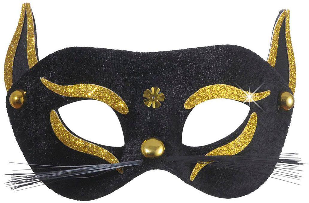 Zwarte kat oogmasker met gouden glitters