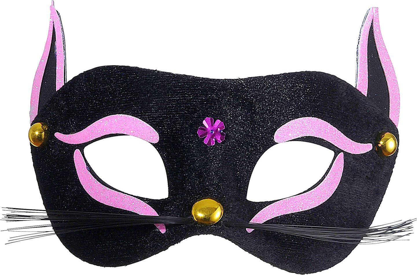 Zwarte kat oogmasker met roze glitters