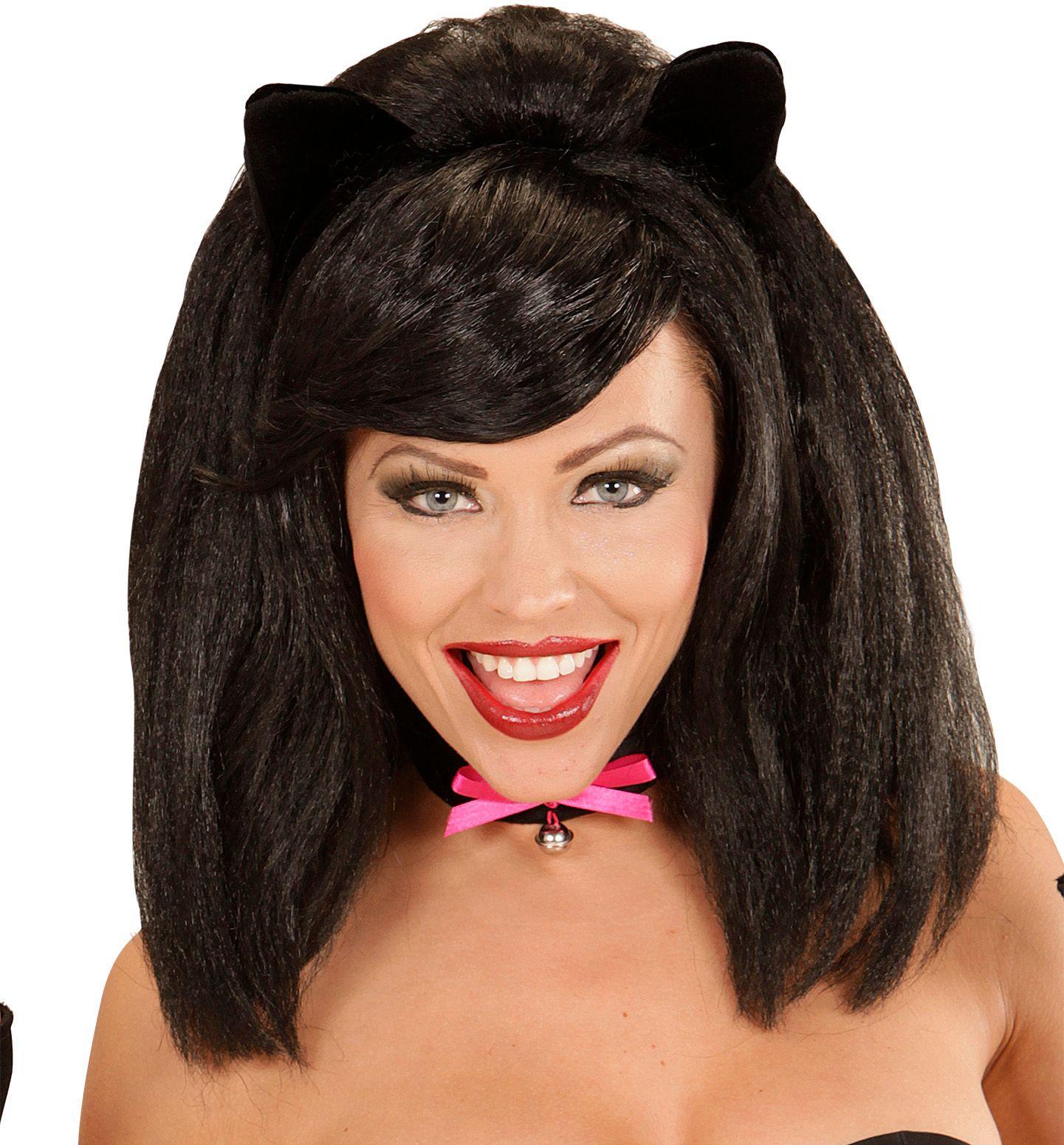 Zwarte kat pruik