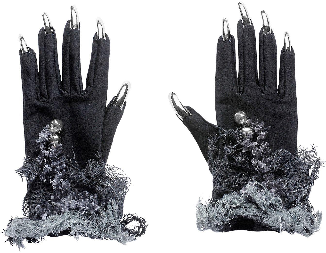 Zwarte katten handschoenen met nagels