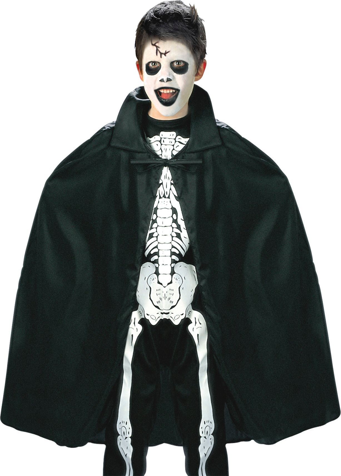Zwarte kinder cape met kraag