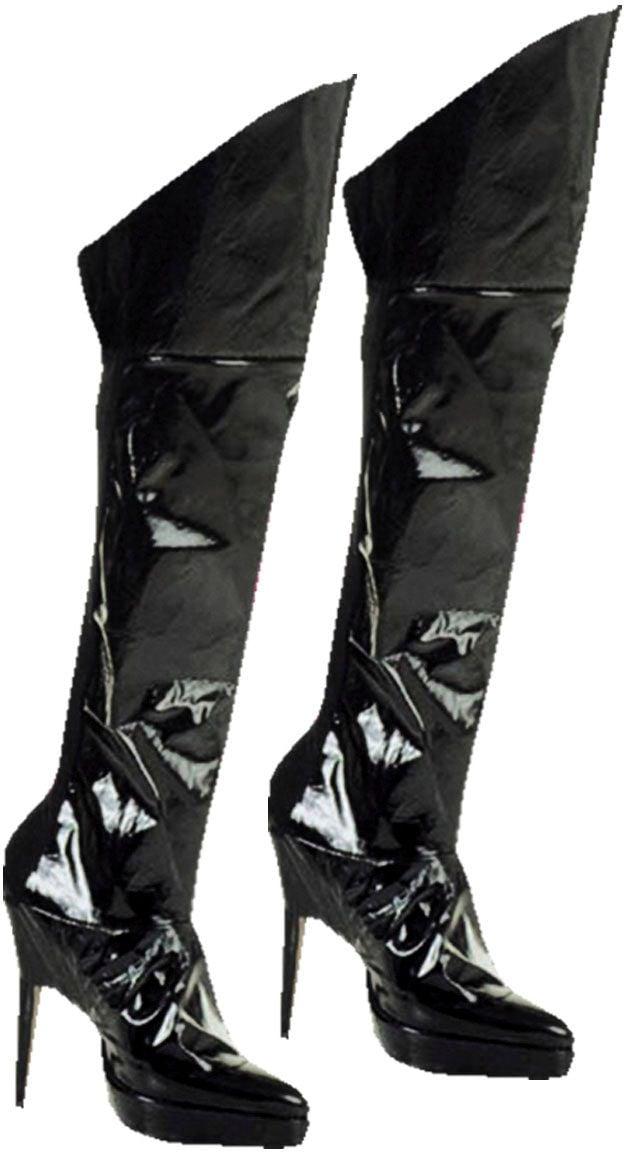 Zwarte lak opzet laarzen