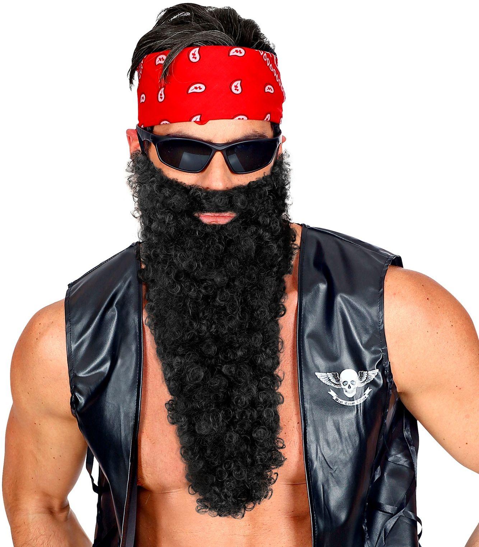 Zwarte lange baard met snor