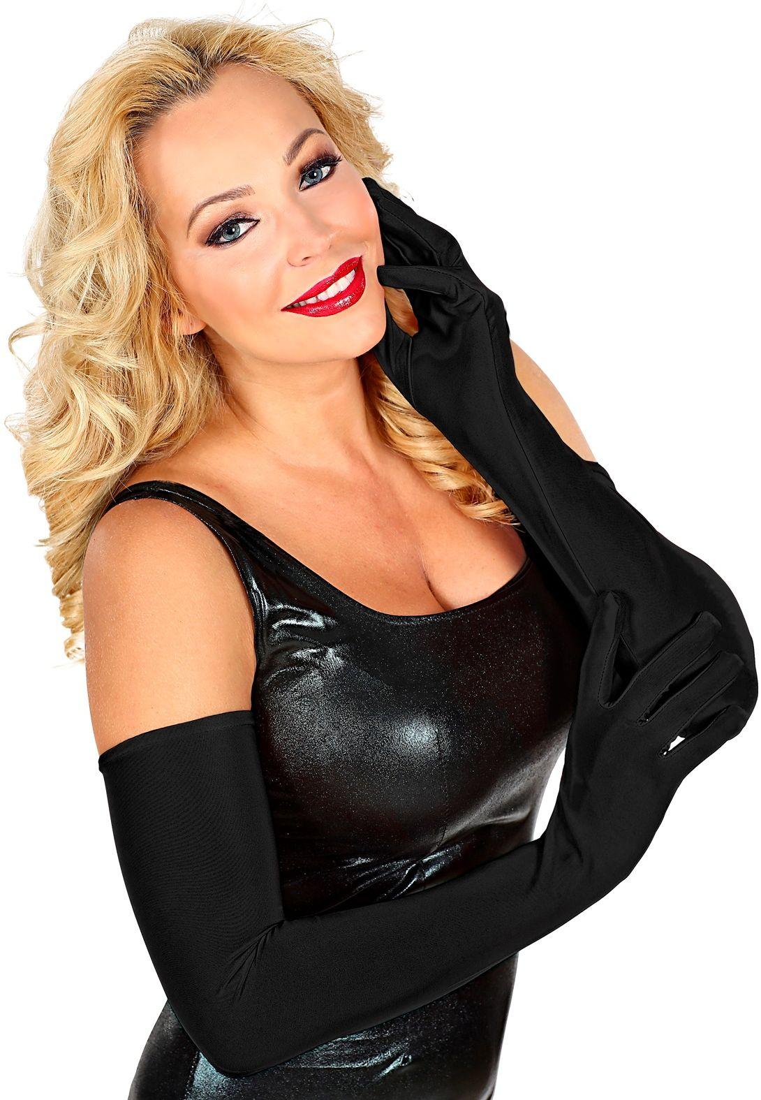 Zwarte lange gala handschoenen