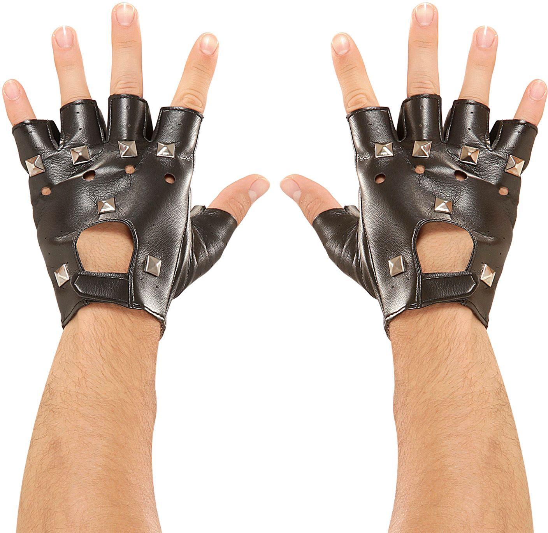Zwarte lederlook biker handschoenen