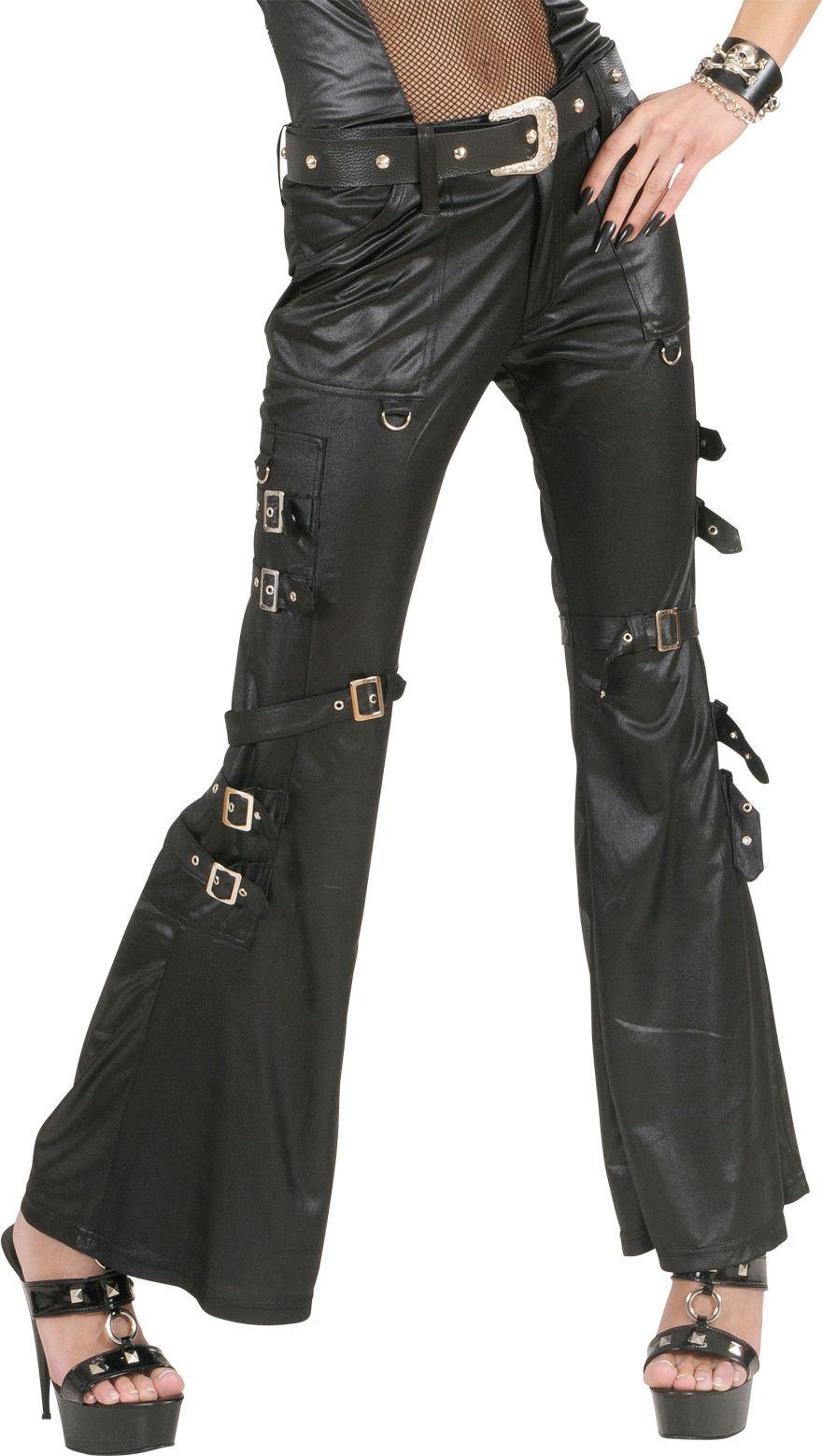 Zwarte lederlook broek kostuum