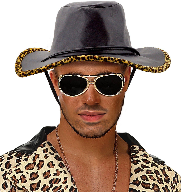 Zwarte lederlook cowboyhoed met luipaard print