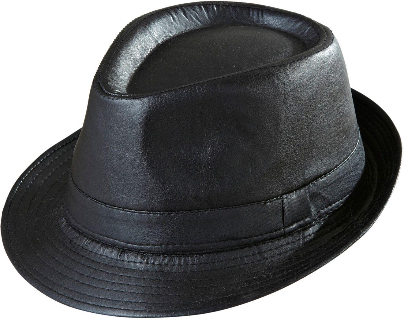 Zwarte lederlook fedora