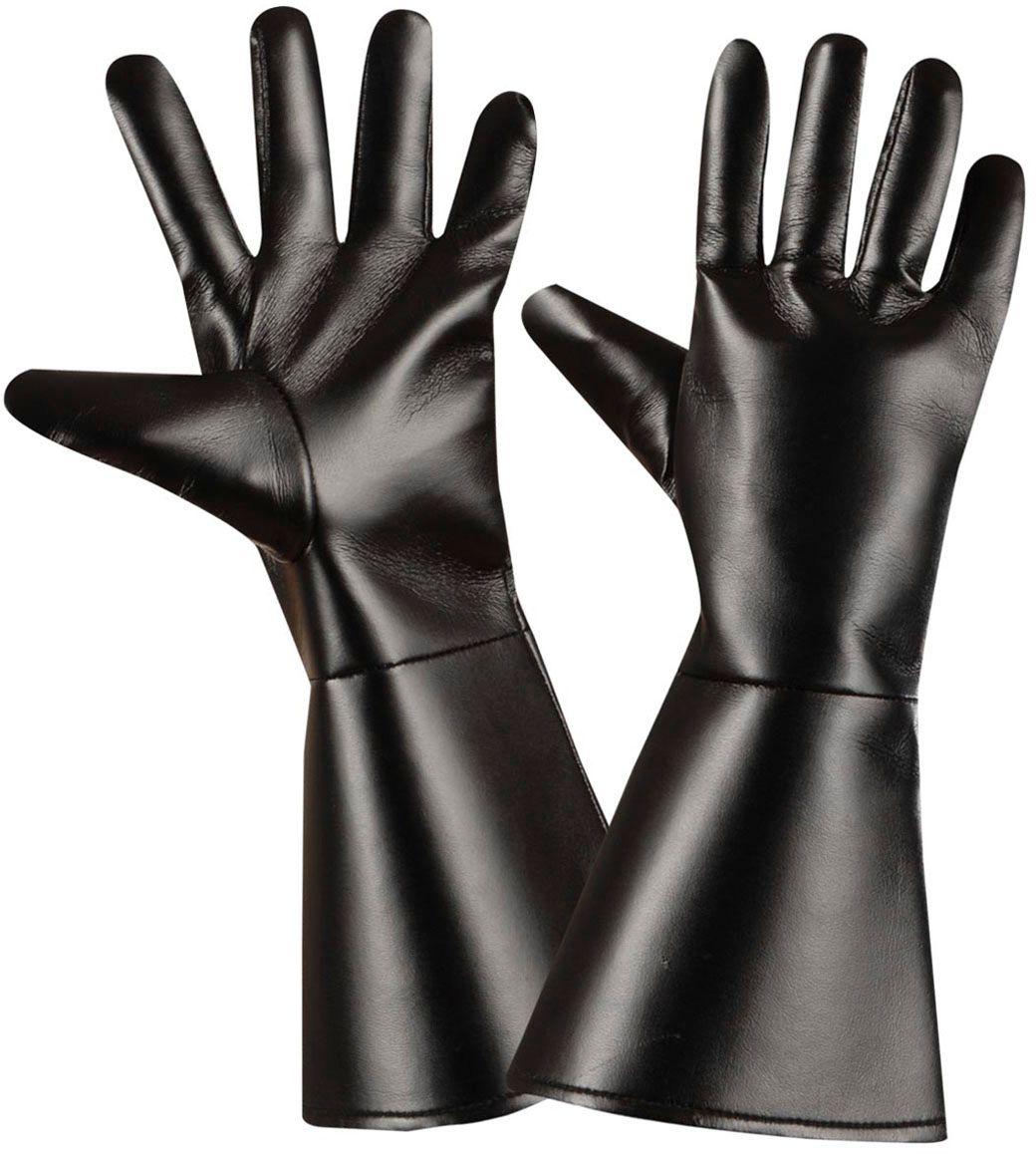 Zwarte lederlook handschoenen