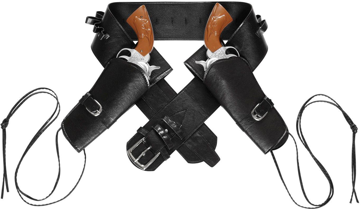 Zwarte lederlook riem dubbele holsters