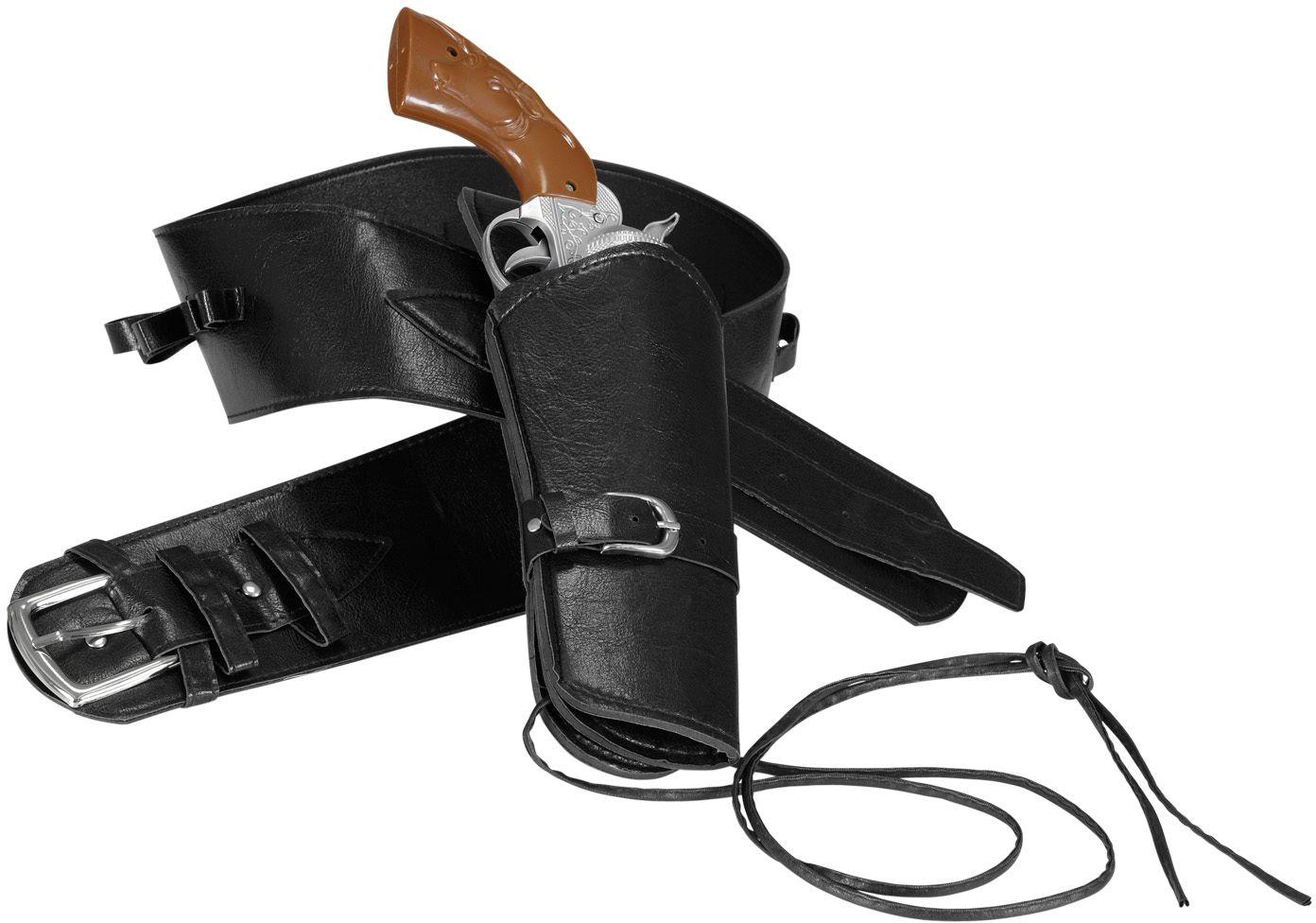 Zwarte lederlook riem met holsters