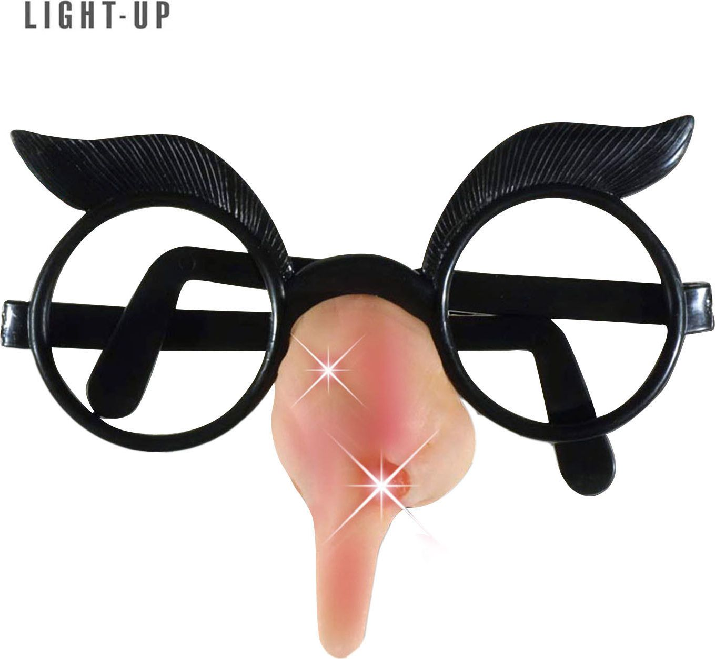 Zwarte lichtgevende heksenbril met neus