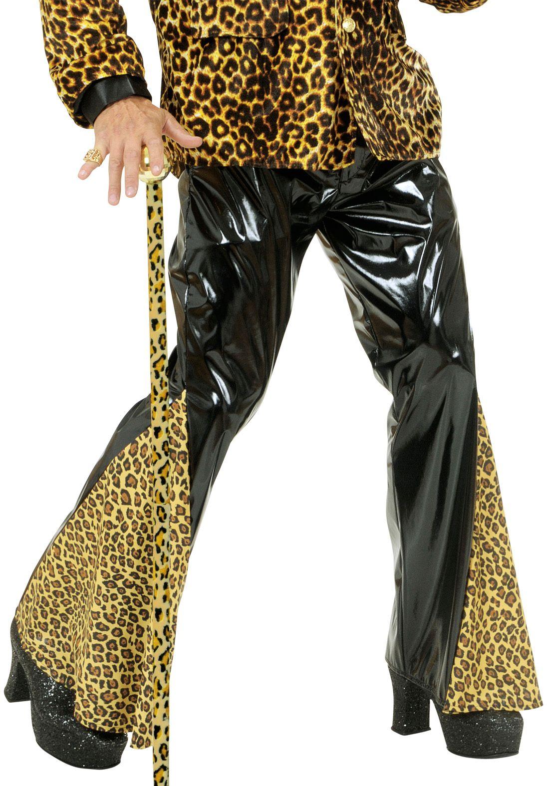 Zwarte luipaardprint vinyl broek