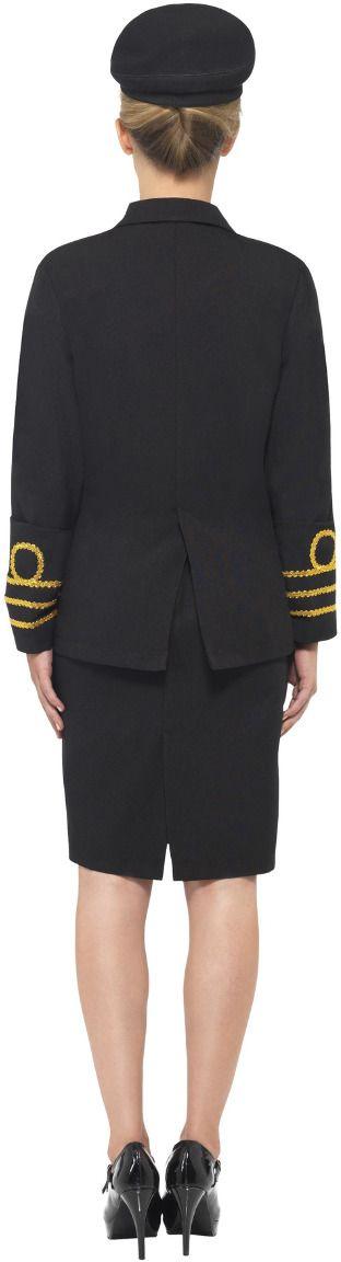 Zwarte marine dames kostuum