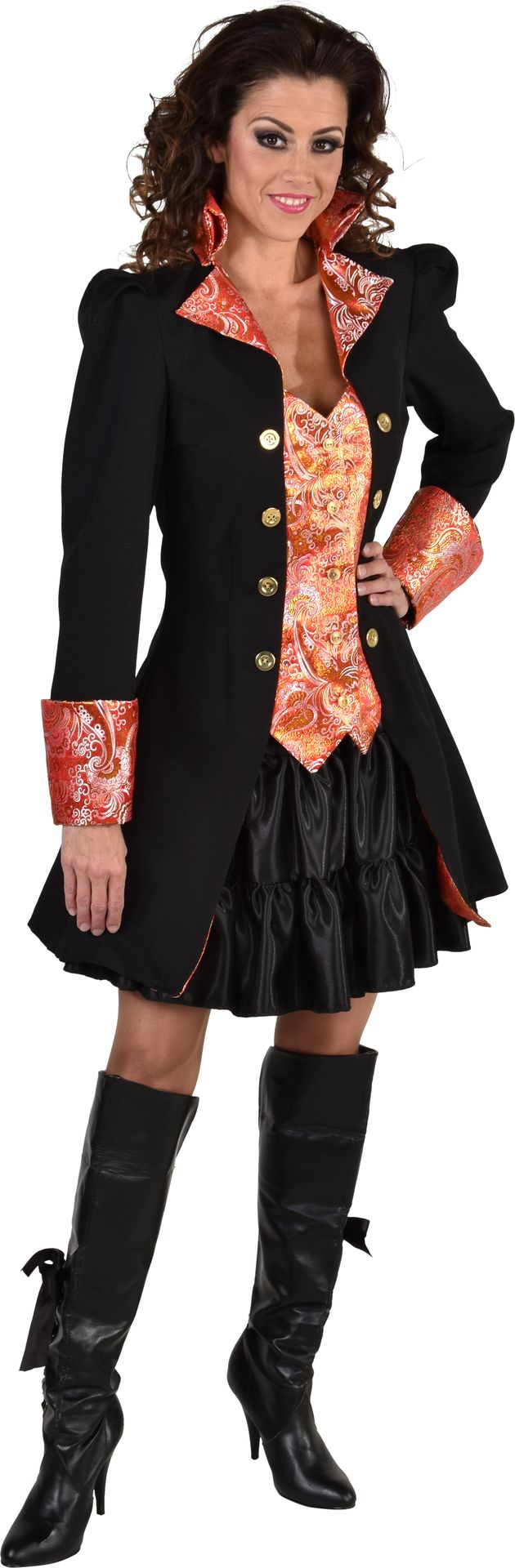 Zwarte markiezin jas vrouwen
