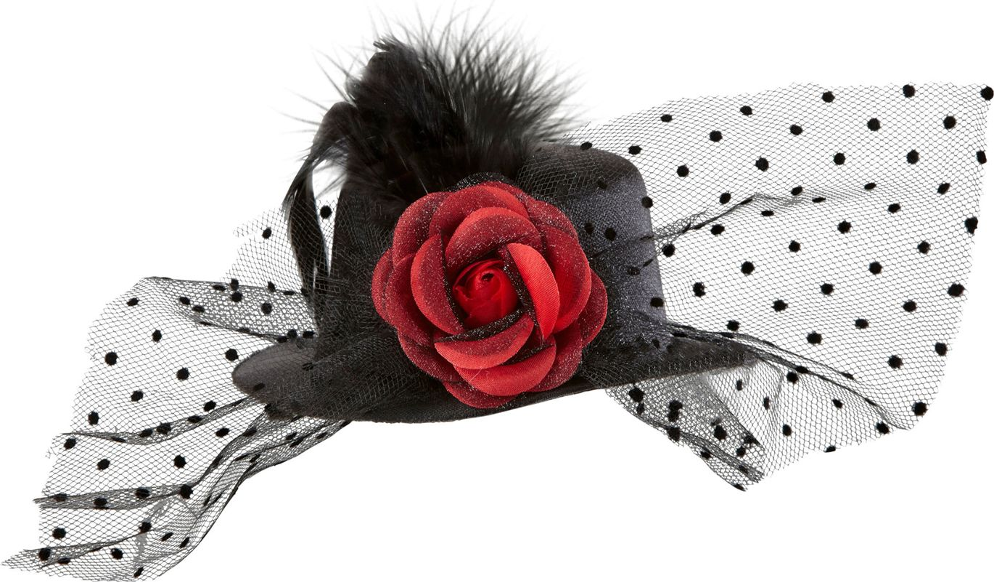Zwarte mini hoge hoed met rode roos en veren