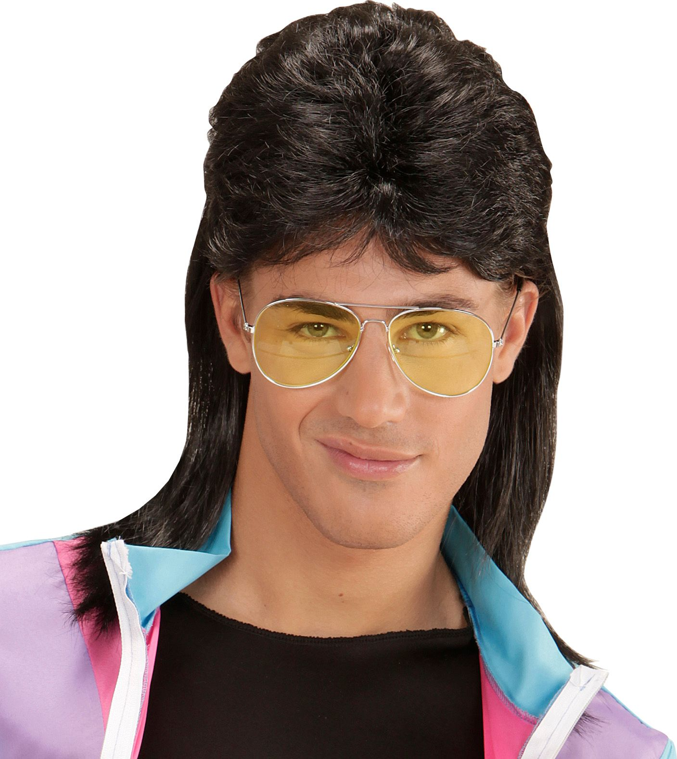 Zwarte New Kids pruik met bril