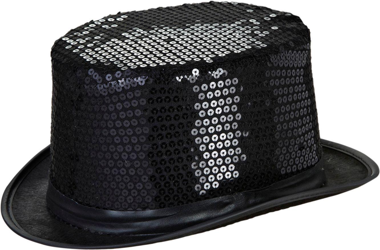 Zwarte pailletten hoge hoed