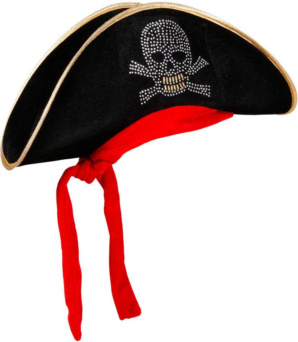 Zwarte piraten bicorn hoed met bandana