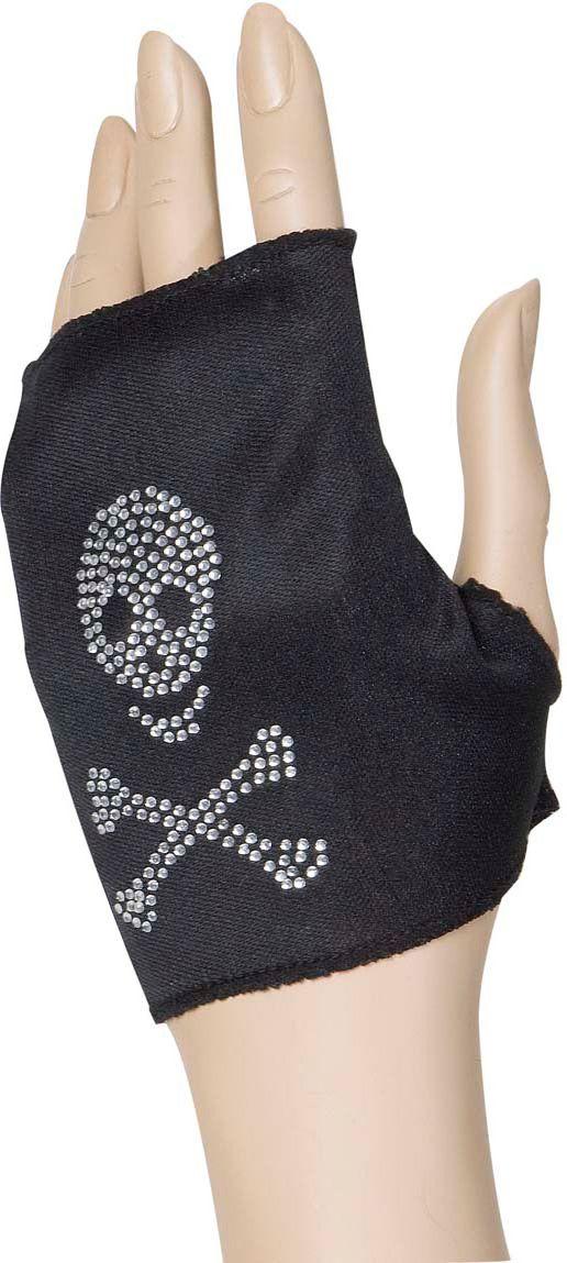 Zwarte piraten handschoenen met strass schedel