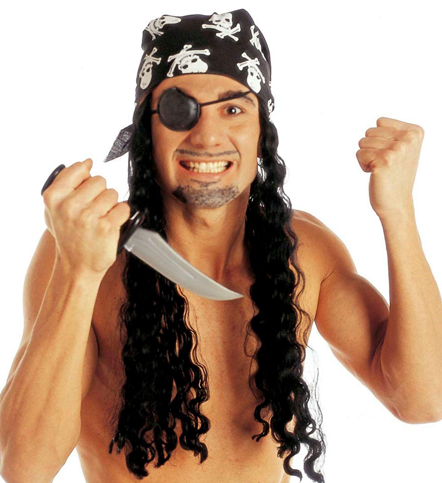 Zwarte piraten pruik met hoofddoek en ooglap