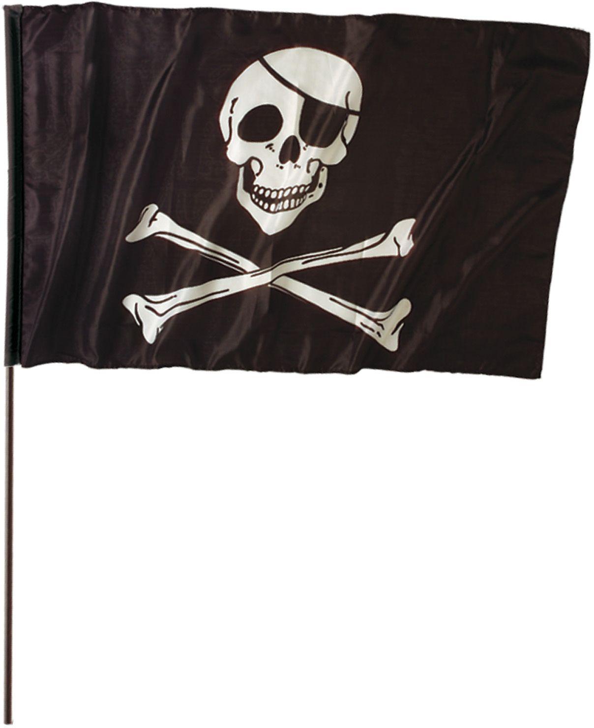 Zwarte piratenvlag met stok