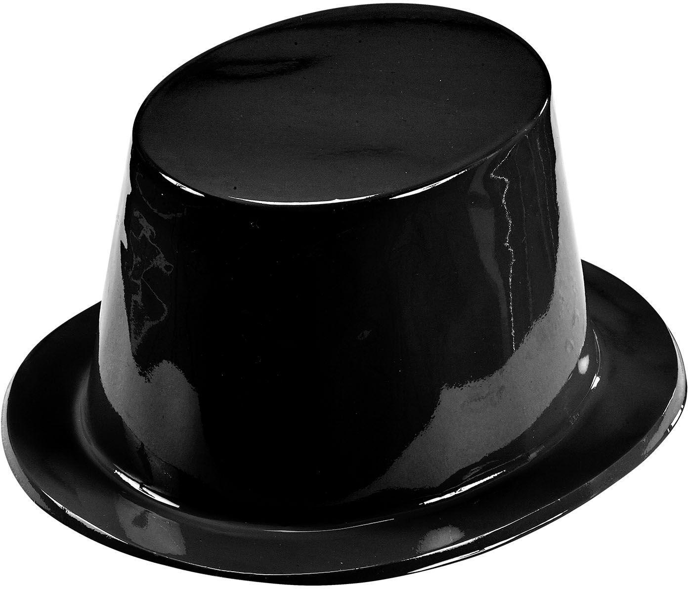 Zwarte plastic hoge hoed
