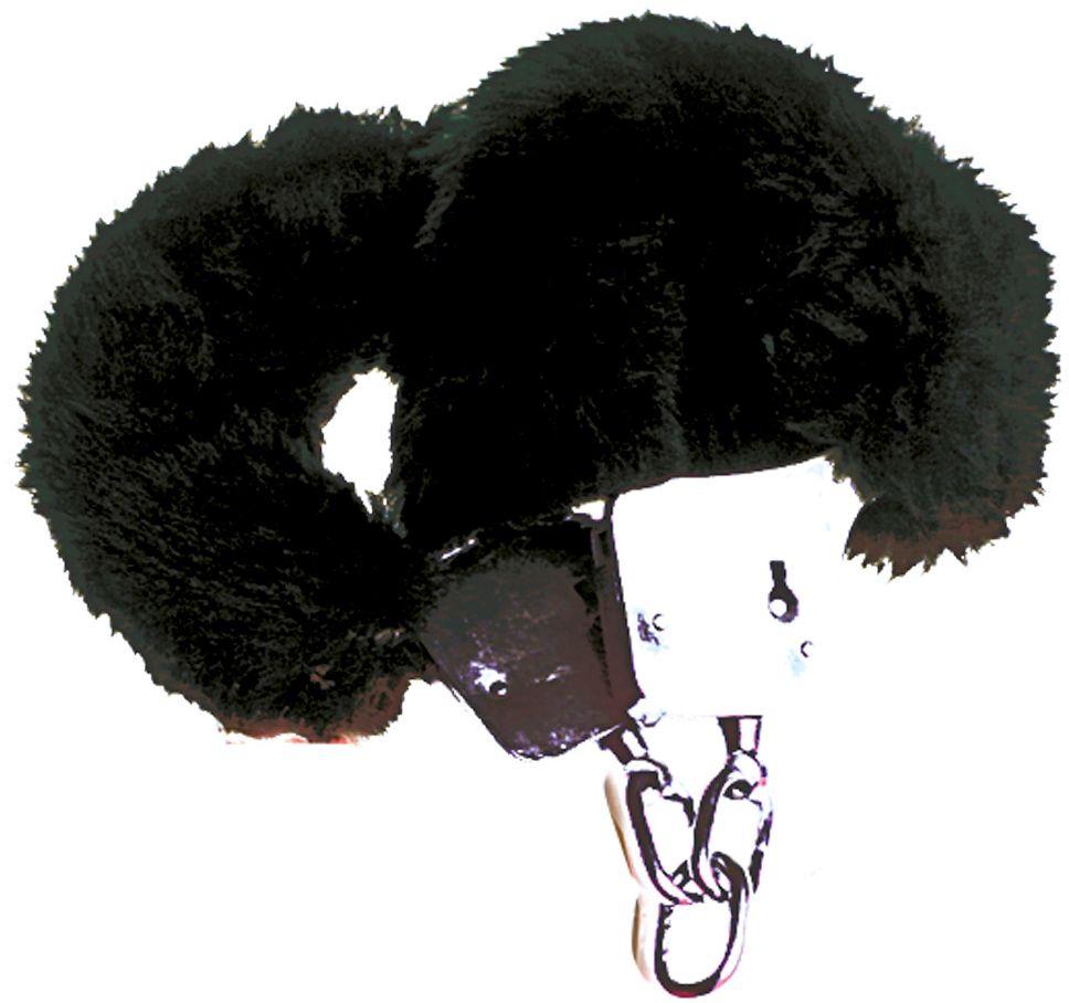 Zwarte pluche handboeien