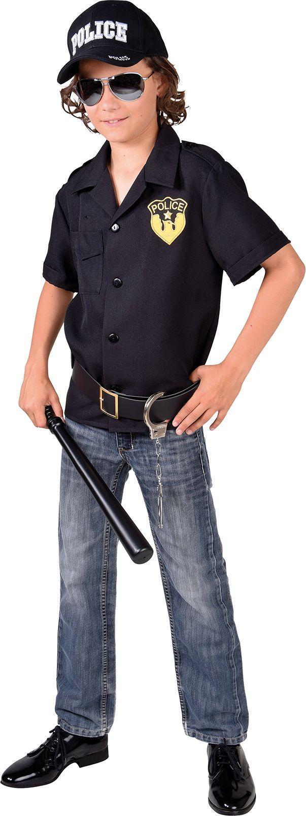 Zwarte politie blouse jongens