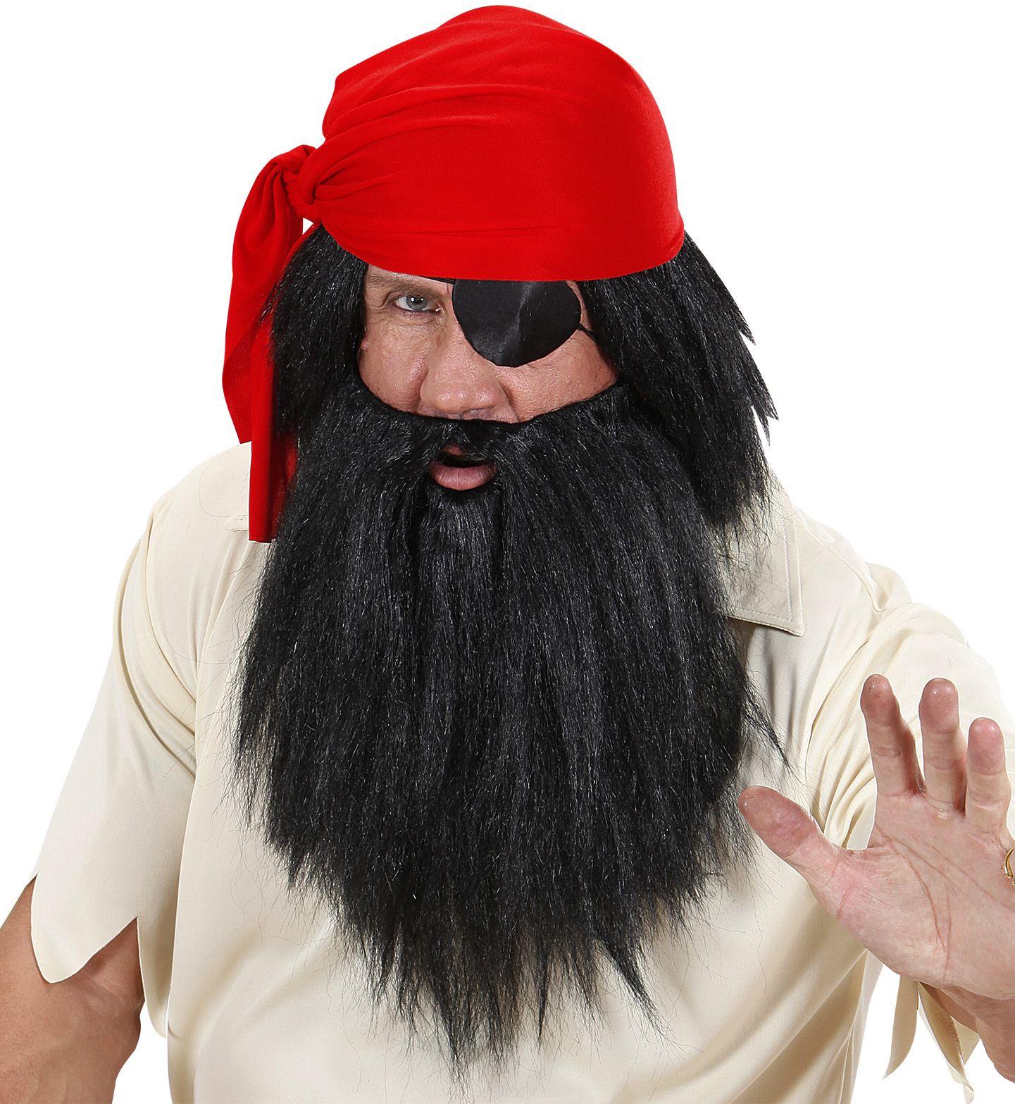Zwarte pruik inclusief baard
