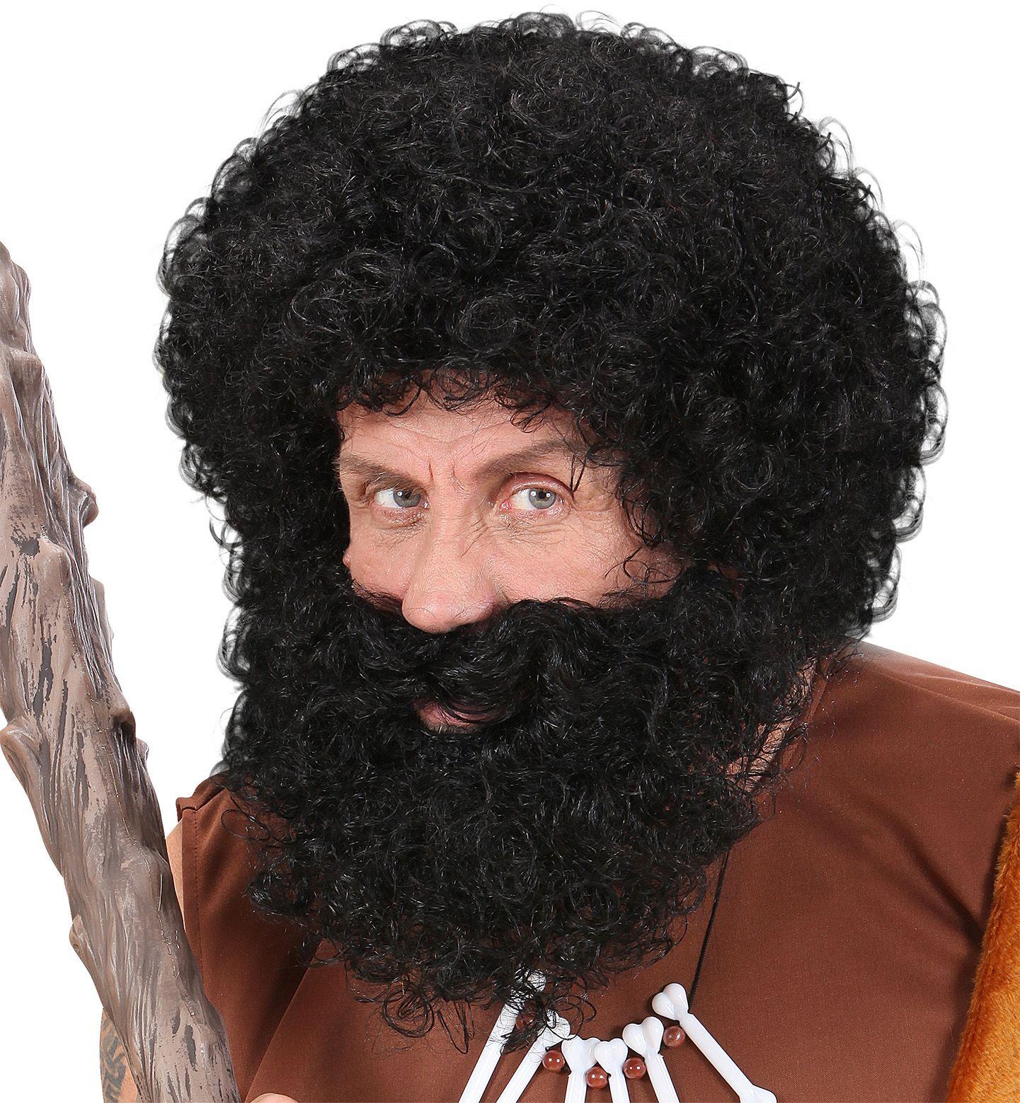 Zwarte pruik met baard en snor