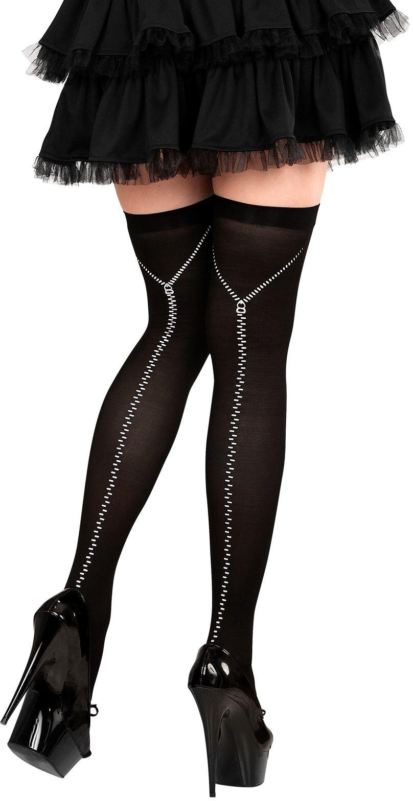 Zwarte rits thigh high kousen
