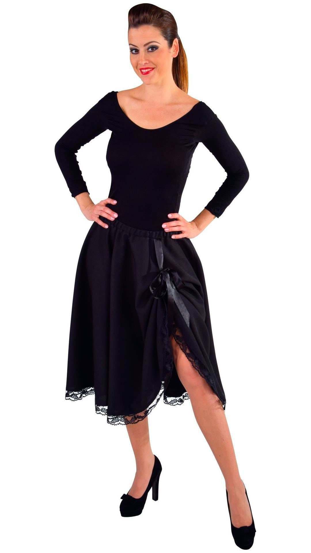 Zwarte rok met kant dames