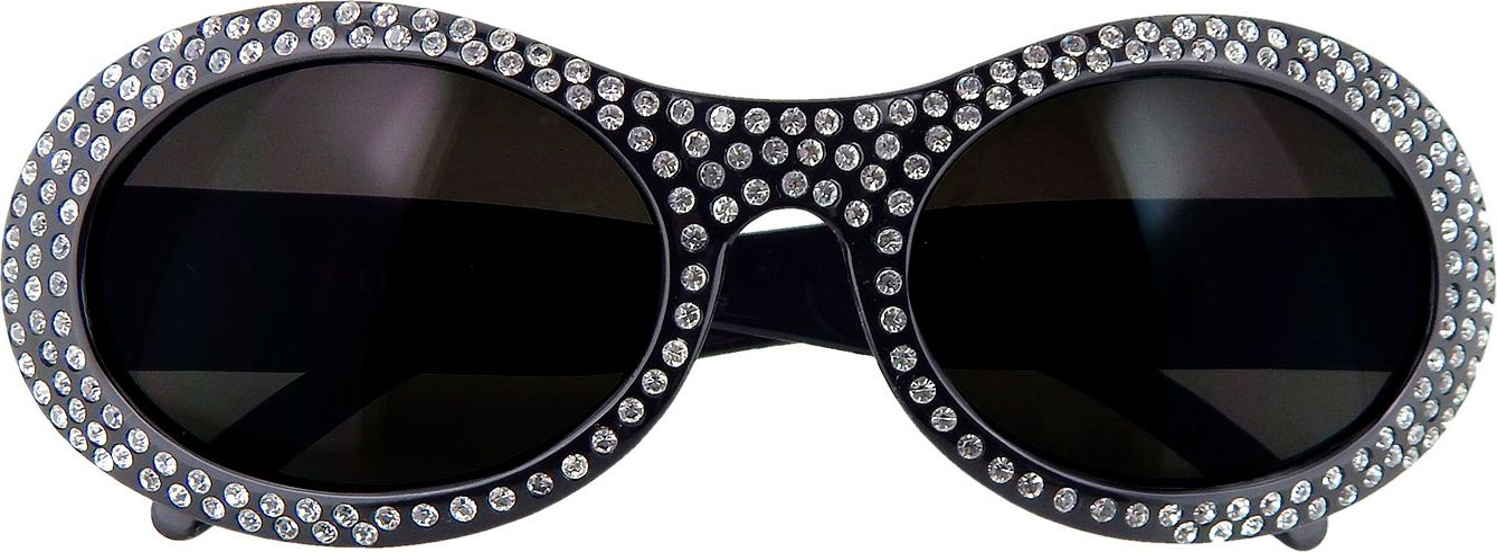 Zwarte ronde bril met strass steentjes