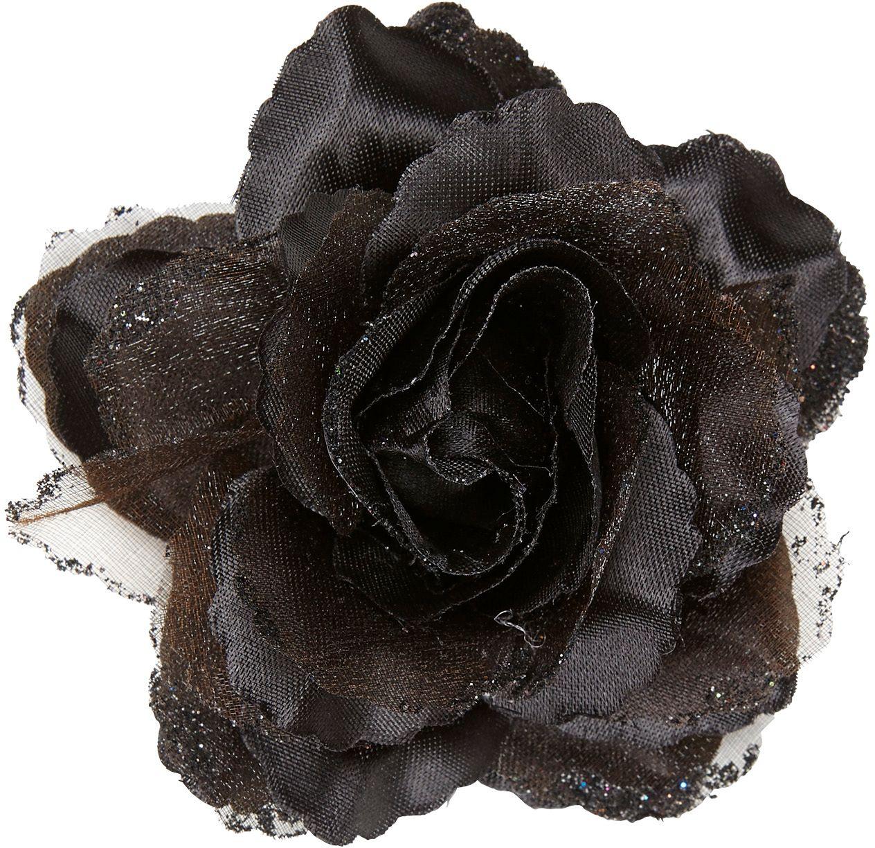 Zwarte roos haarclip