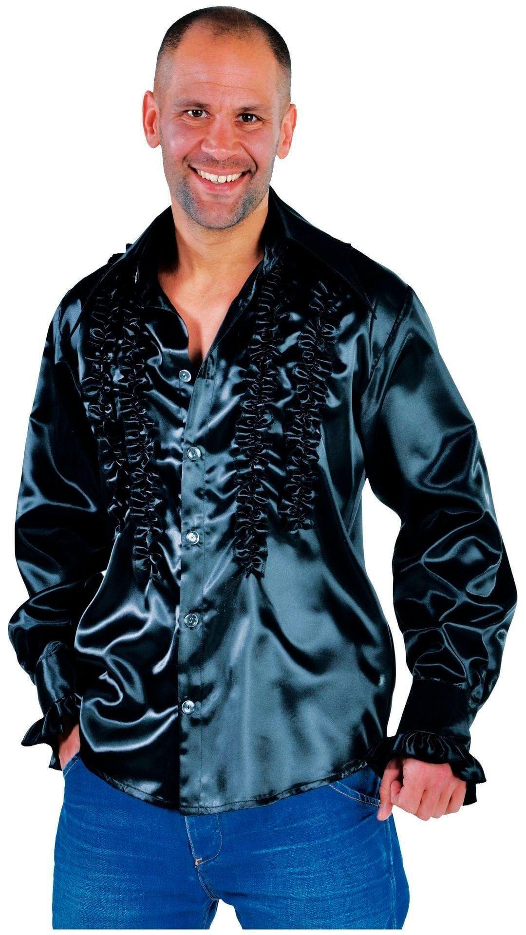 Zwarte rouches blouse heren