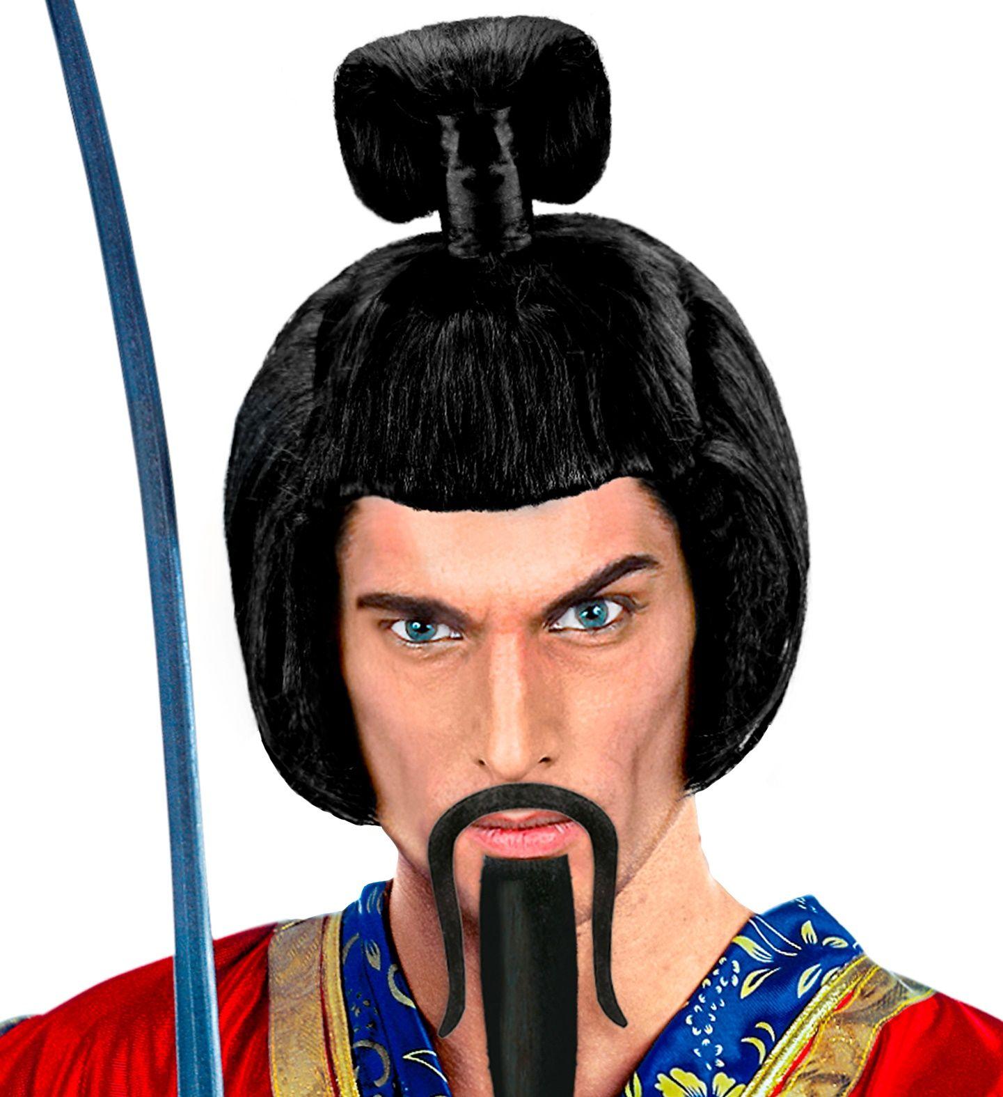 Zwarte samurai pruik