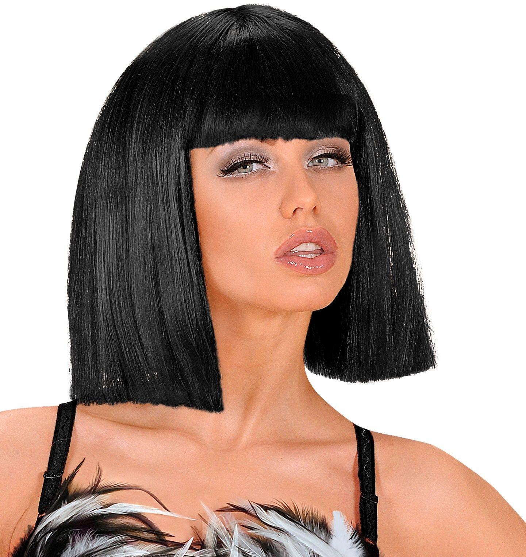 Zwarte showgirl pruik