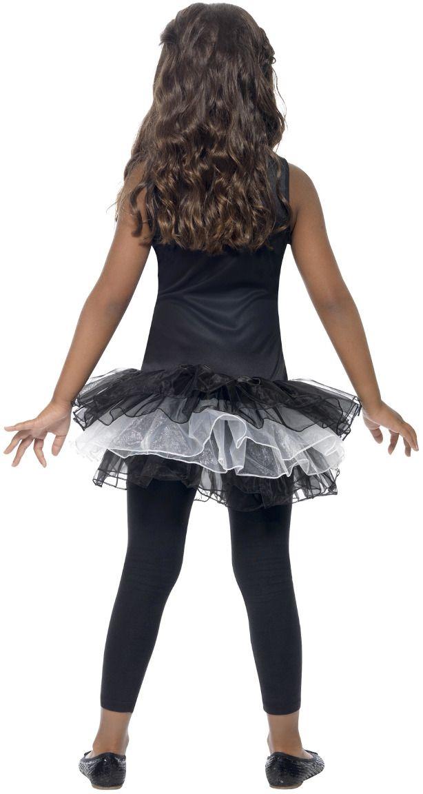 Zwarte skelet tutu kostuum