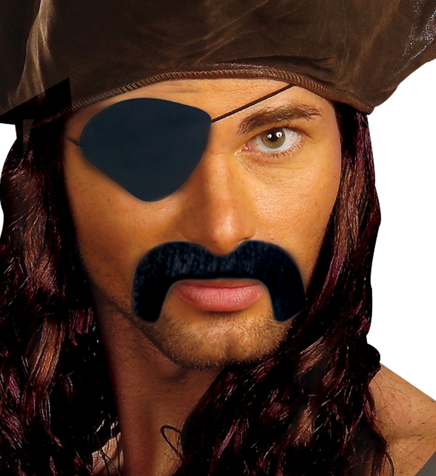 Zwarte snor met ooglap piraat
