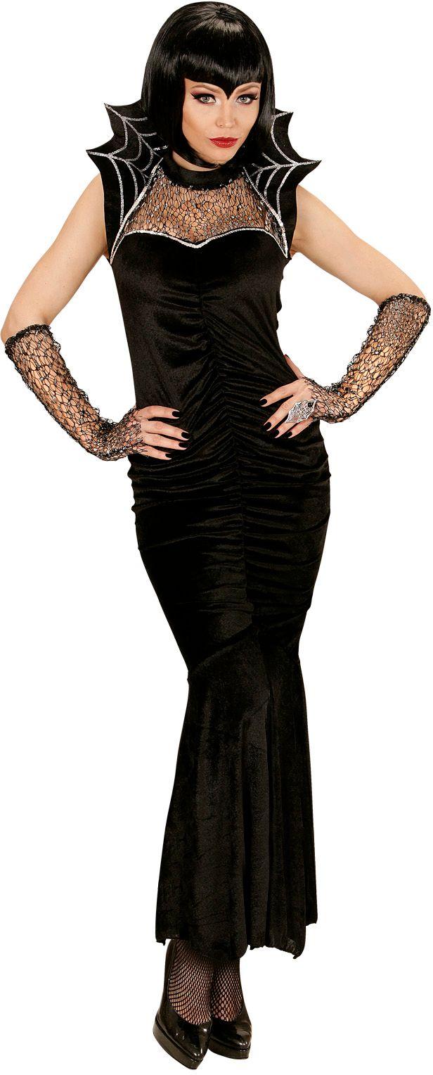Zwarte spiderella jurk